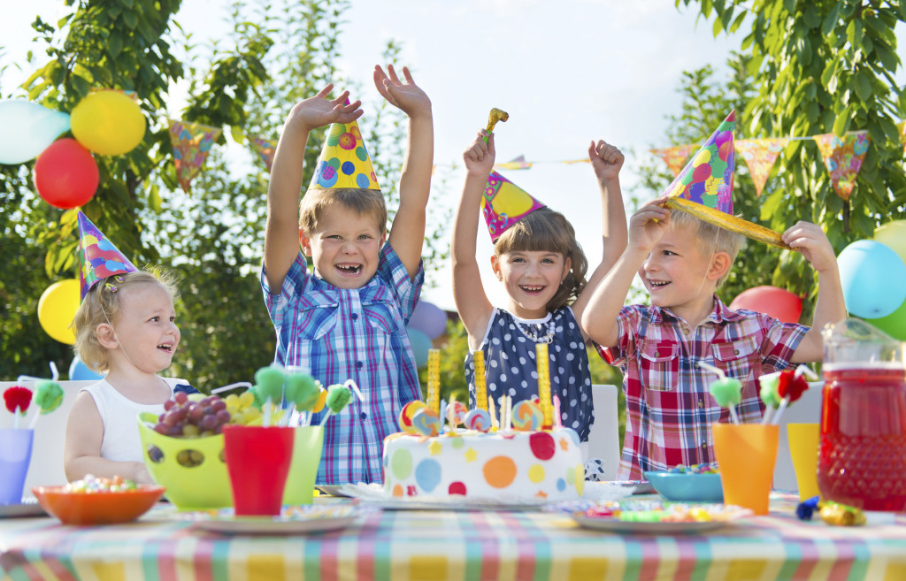 Group of kids having fun at birthday party